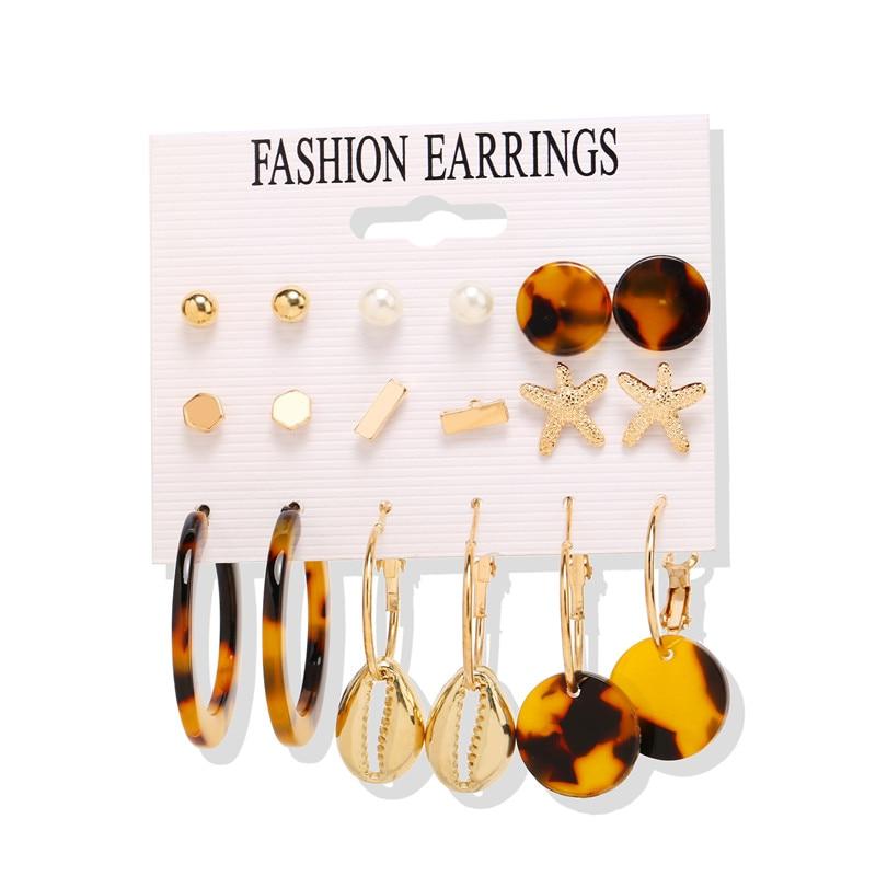 17 км акриловые серьги с кисточками для женщин, богемные серьги, набор больших геометрических висячих сережек Brincos, Женские Ювелирные изделия DIY - Окраска металла: Earrings Set 4