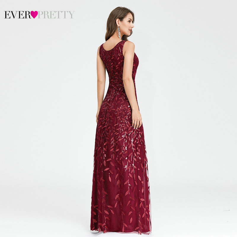 Sexy Prom Dresses Ever Pretty EP00910NB Sequined Side Split A-Line V-Neck Sleeveless Ladies Formal Gowns Abiye Gece Elbisesi