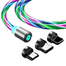 Charger-Wire Cable Cord Mobile-Phone Magnetic-Flow-Luminous-Lighting Type-C Micro-Usb