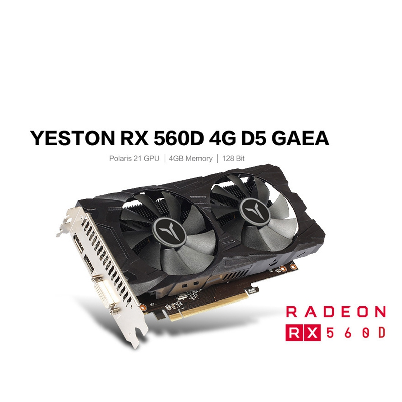 Yeston RX560D-4G D5 GAEA Graphic Card Dual Fan Cooling 4GB Memory GDDR5 128Bit DP + HD + DVI-D GPU Enhanced Heatsink
