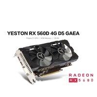 Yeston RX560D-4G d5 gaea placa gráfica dupla ventilador de refrigeração 4gb memória gddr5 128bit dp + hd + DVI-D gpu aprimorado dissipador calor