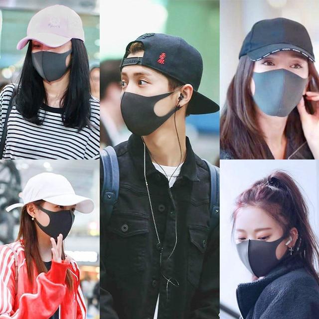10pcs  Mouth Face Anti Pm2.5 Dust Mouth  Activated Carbon Filter Korean Fabric Face  Cotton Black Dustproof Sport 3