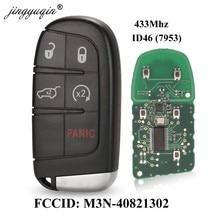 Jingyuqin chave de carro 433mhz id46, com chip, 5 botões remotos, para dodge/chrysler/jeep grand cherokee M3N-40821302 por exemplo,