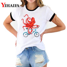 Women 3D Print T Shirts Funny Octopus Graphic Tees T-shirt Personality Summer White Tee Casual Unisex Short Sleeve Tops short sleeve octopus tentacles print tee