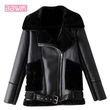 2019 Winter Lining with Velvet Zipper Korean Pilot Female Coat Black Warm Pu Faux Fur Lapel Long Sle