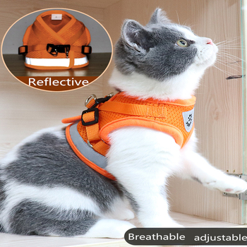 Cat Dog collar Adjustable Harness Vest Walking Lead Leash Collar for Dogs Puppy Mesh Harness For Small Medium Dog Cat Pet  Bell 1