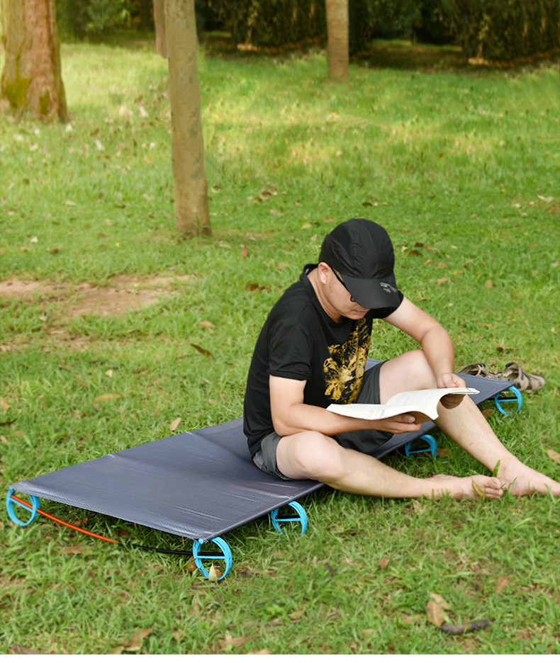 2019 extérieur ultra-léger en alliage d'aluminium lit de camp unique bureau déjeuner portable pliant camping randonnée équipement survie