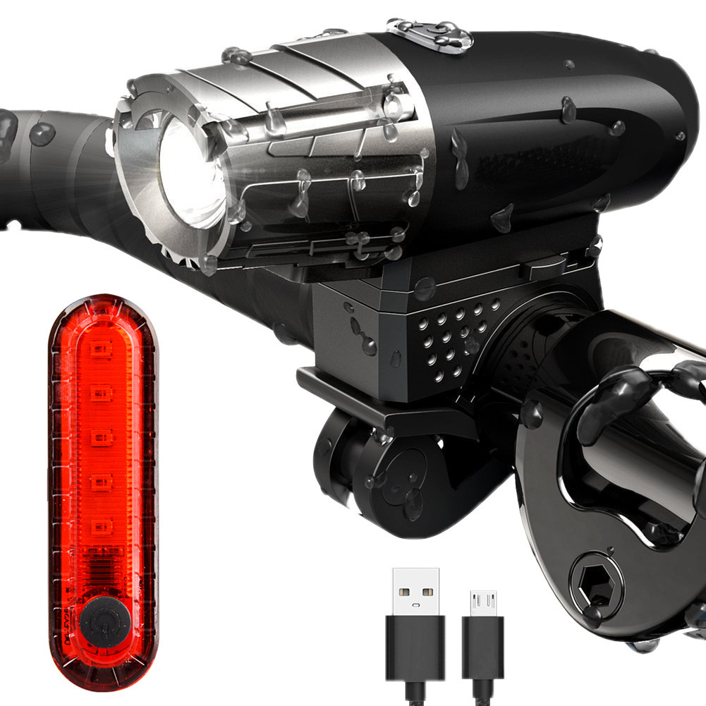 Outdoor <font><b>Bike</b></font> Cycling Bicycle <font><b>USB</b></font> Charging Front <font><b>Light</b></font>+Taillight <font><b>Set</b></font> Cycling Lamp Flashlight image