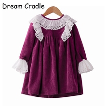 Dream Cradle rosy winter frock with lace , Vintage baby dress Baby Girls spanish style pattern  Handmade