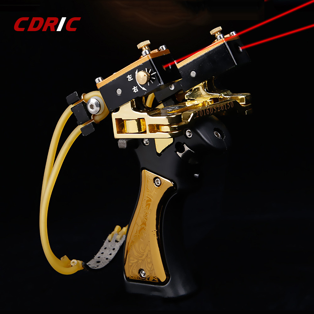 Powerful Alloy Slingshot Bow Catapult With Laser High Precision Shooting For Hunting Shooting Fishing Folding Wrist Sling Shot