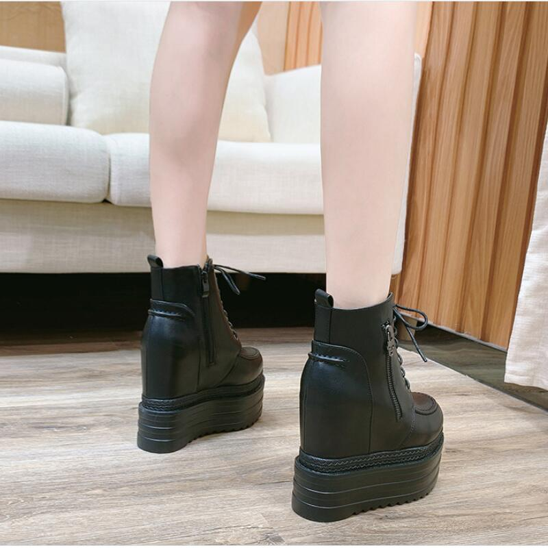 Giyu 2020 new winter women's leather boots 12cm High heel platform shoes Internally increased Martin boots Black red short boots
