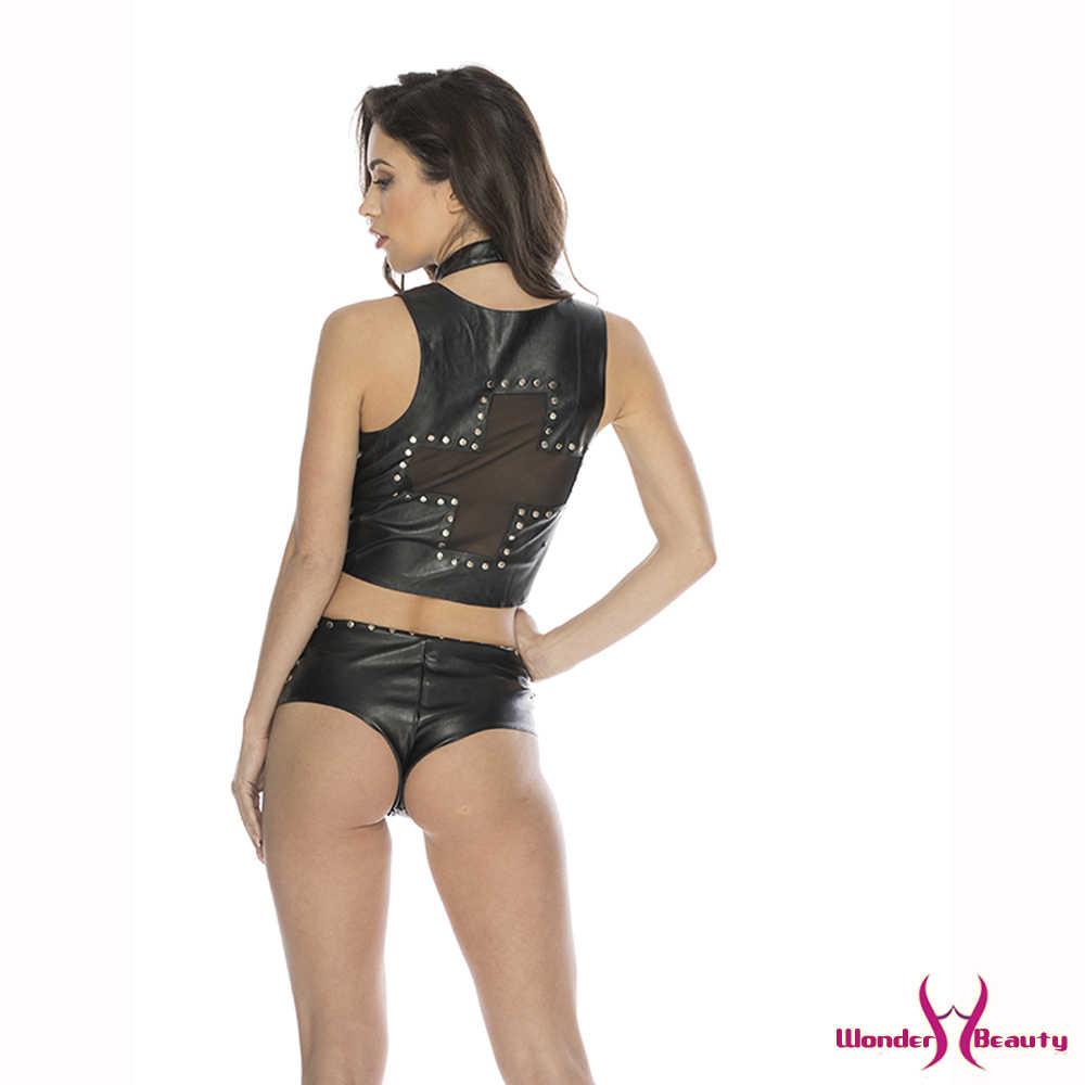 Steampunk Sets For Women Black Vest Crop Top Hot Shorts Zipper Design Mini Pants Rock Street Pencil Two Piece Set