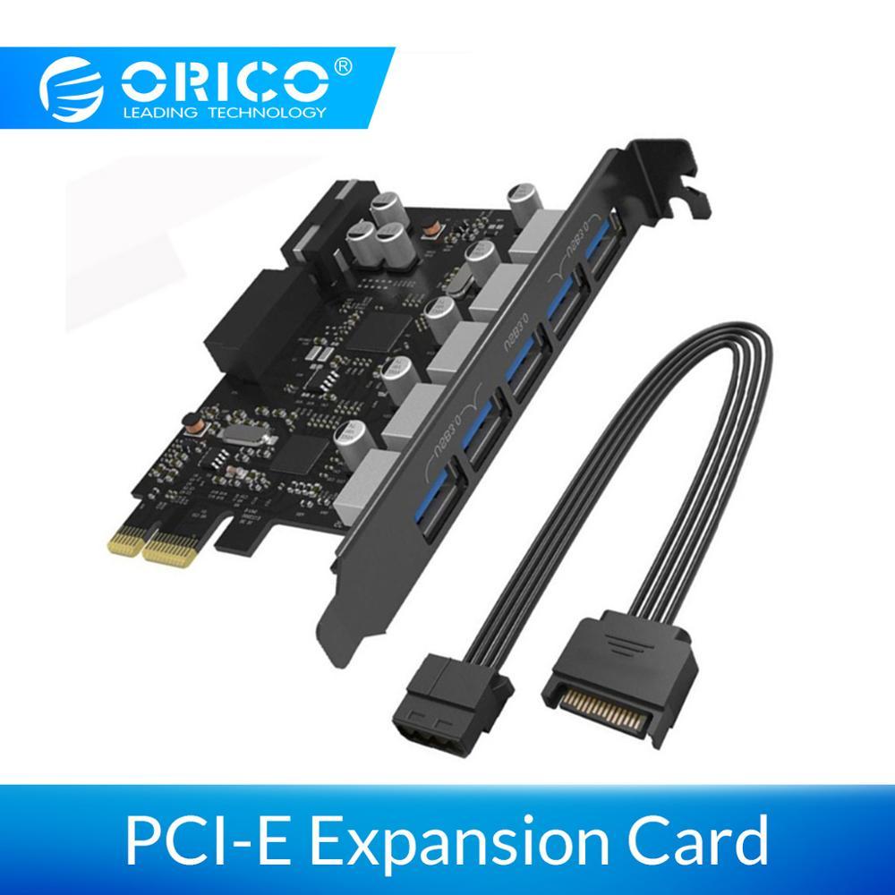 Карта расширения ORICO PCI-E 5 портов USB 3,0 PCI Express карта 5 Гбит/с совместима с Windows XP Linux с 4-контактным шнуром питания