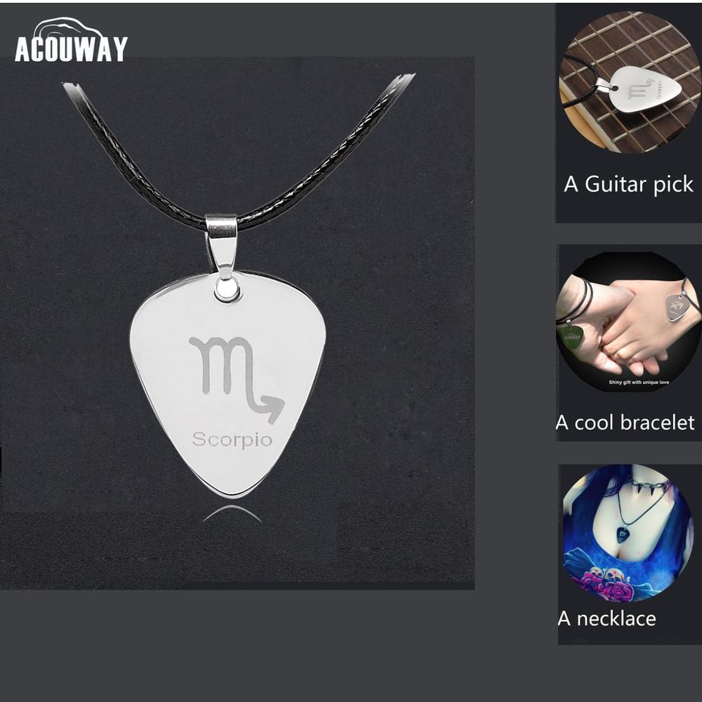 Acouway Guitar Pick Necklace Pendant Stainless Steel Black Chain /Aries Taurus Gemini Leo Zodiac Necklace Bracelet Pendant Gifts