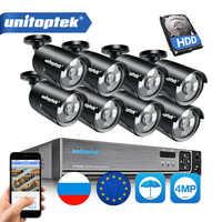 H.265 4MP CCTV Sicherheit Kamera System 4CH 8CH POE NVR Mit IP Kamera CCTV Kit Wasserdichte IP66 Video Überwachung System XMEye
