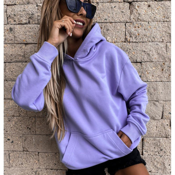 Fashion Hoodies Women Casual Sweatshirt Long Sleeve Solid Hoodie Hooded Pullover Tops Blouse With Pocket Autumn Winter New Style autumn winter solid color fashion print hoodies women plus size long sleeve slim streetwear pocket hoodie tops