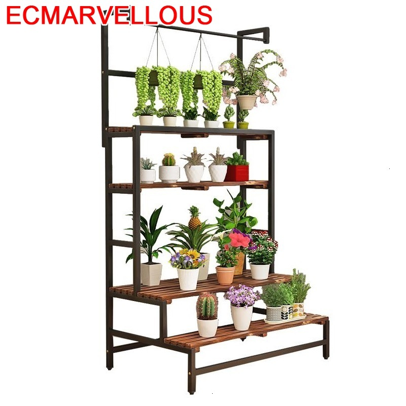 Ladder Etagere Pour Plante Varanda Pot Plantenrekken Wood Terraza Shelf Dekoration Outdoor Flower Stojak Na Kwiaty Plant Stand