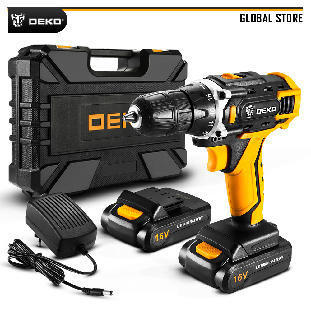 DEKO New Arrival Loner 16V Lithium Battery Electric Screwdriver Mini Wireless Power Driver With LED Light Home DIY Power Tools