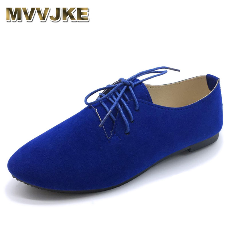 MVVJKE 2020new Plus Size Candy Color Women Shoes Flat Shoes Women With Laces Spring Autumn Women Shoes Size 41 42E084