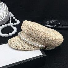 פרל קיץ כובע נקבה חדש אור קש אוורור באביב ובקיץ אופנה פנאי צל קרם הגנה כובע