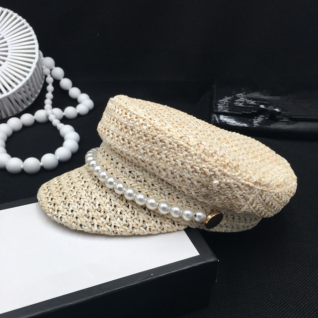 Pearl summer hat female new light straw ventilation in spring and summer fashion leisure shade sunscreen cap