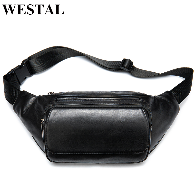 WESTAL Sheep Leather Men's Waist Pack Fanny Pack Belt Bag Men Leather Belt Waist Bags Man Belt Pouch Travel Casual Hip Bag 8917