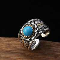 100% Real 925 sterling silver Open Ring Male Vintage Thai Silver Natural Blue Turquoises Men Rings Fine Jewelry Free Shipping