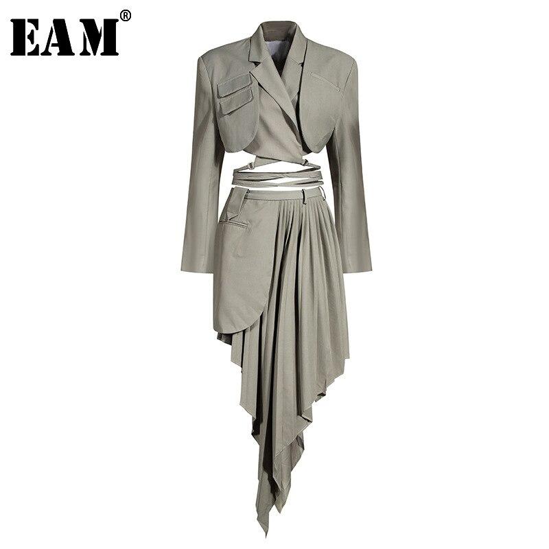 [EAM]-falda de medio cuerpo para mujer, traje de dos piezas, Irregular, plisado, gris, holgado, de manga larga, con solapa nueva, a la moda, para primavera y otoño, 2020, 1x728