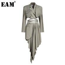 [EAM] gonna a metà corpo grigio pieghettato irregolare abito a due pezzi nuovo risvolto manica lunga sciolto moda donna primavera autunno 2021 1X728