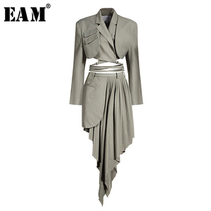 [EAM] Half-body Skirt Gray Pleated Irregular Two Pieces Suit New Lapel Long Sleeve Loose Women Fashion Spring Autumn 2020 1X728