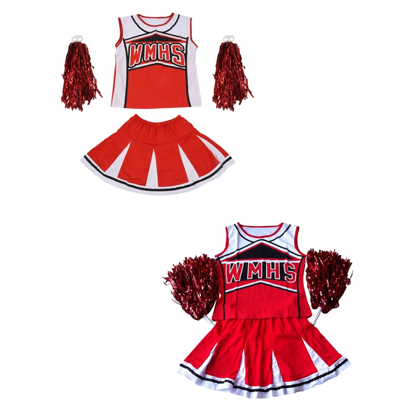 2 Pcs Tank Top Petticoat Pom Pom-Pom Cheerleaders Cheer Leaders 2 Piece Suit New Red Costume , M (34-36) & S (30-32)