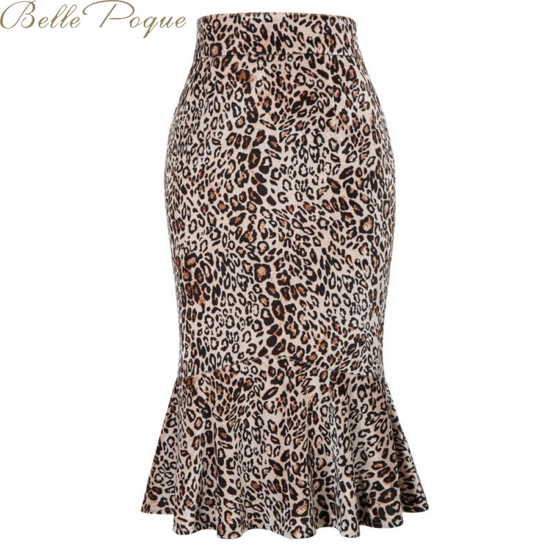 Belle Poque Midi Trumpet Skirts Punk Streetwear Korean Style Summer 2019 Ruffles Bodycon Leopard Print High Waist Skirts Womens