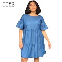 TIYE Plus Size 3XL Summer Style Denim Dresses Women O-Neck Half Sleeve Blue Loose Jeans Dress Vintage Vestidos Women Clothing 2019 new summer dress denim vestidos women plus size xxxl 4xl casual o neck loose short sleeve jeans dress blue kkfy3556