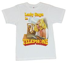 Lady Gaga Mens T-Shirt - In Telephone Cotton Casual Shirt White Top