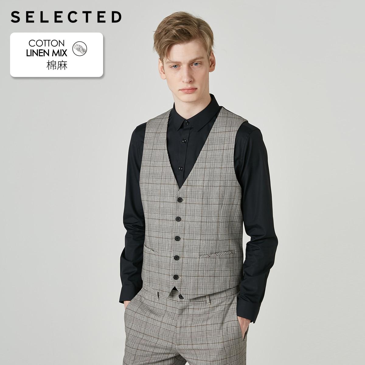 SELECTED Men's Cotton & Linen Blend Waistcoat Plaid Stitching Retro Business Vest Clothes S | 419234501