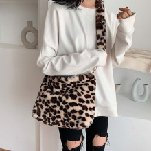Леопардовые плюшевые сумки на плечо для женщин осень и зима Модные женские винтажные сумки женские большие вместительные сумки-мессенджеры