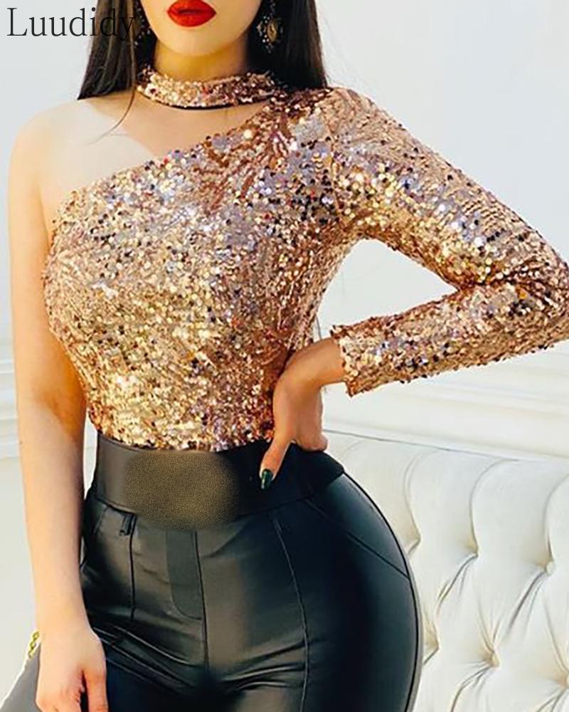 Women Fashion Elegant One Shoulder Sequins Bodysuit Glitter Long Sleeve Party Top