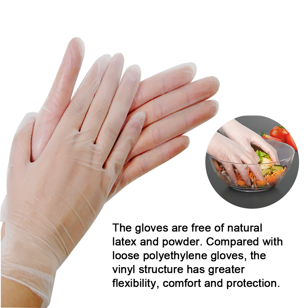 S M L 100pcs/Lot Thin Disposable PVC Gloves Waterproof Gloves for Kitchen Medical Garden Isolation Safty Work Gloves Universal