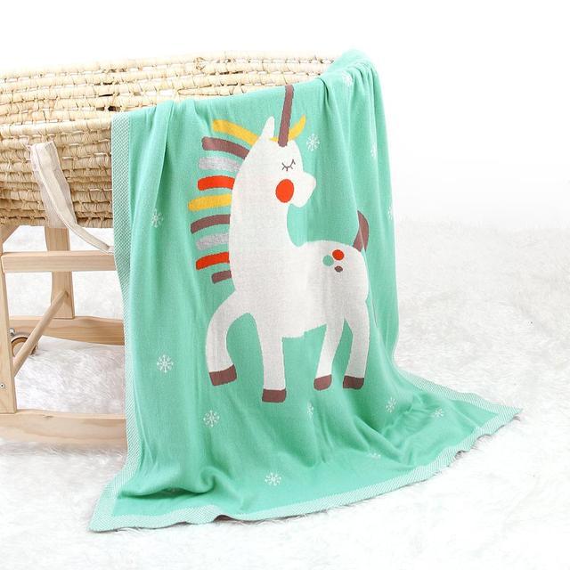 Manta de punto unicornio verde 1