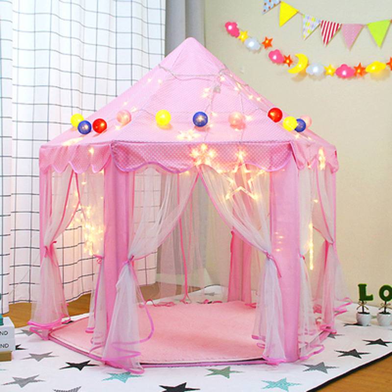 Girls Toys Kids Tent Pink Child Tent Girl Tipi Enfant Play Game Teepee Little House Baby Campaign House Princess Children's Tent