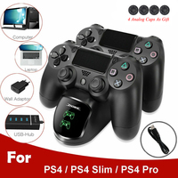 USB Schnelle Lade Dock Station für PS4 Controller Joypad Joystick Ladegerät Stehen Dual für Playstation 4 PS4 Dünne/PS4 pro
