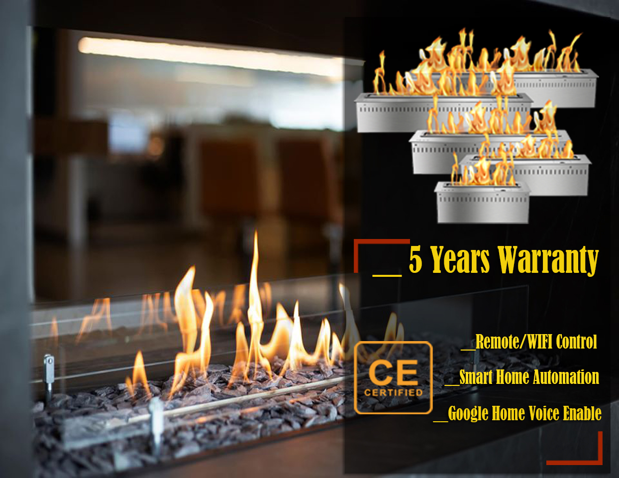 On Sale 24 Inch Long Luxury Alcohol Fireplaces Modern Remote Ethanol Burner Insert