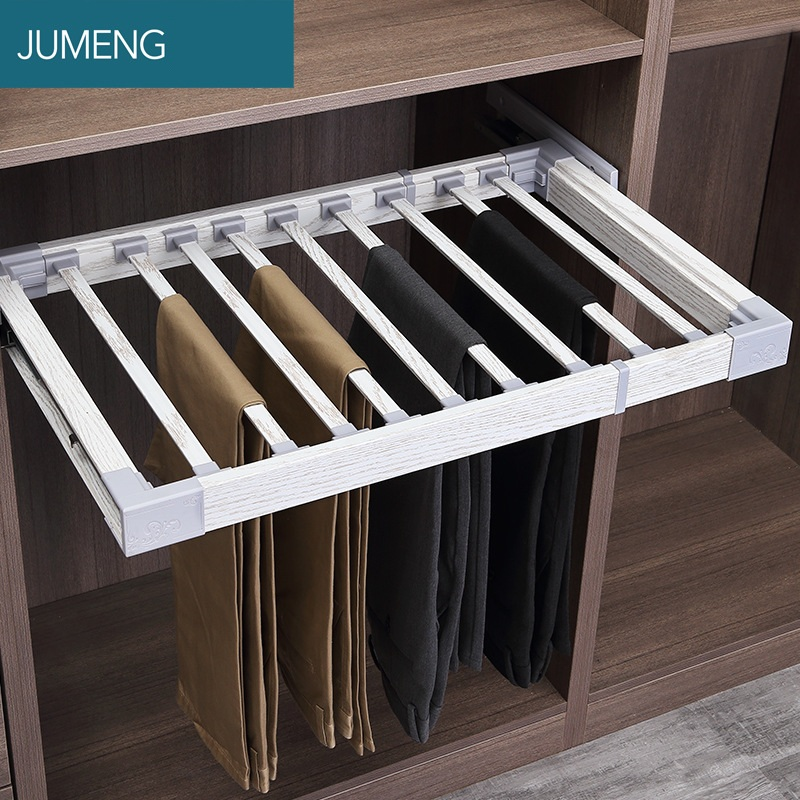 Wardrobe Push-pull Movable Hanger Pants Hanger Cloakroom Furniture Accessories Push-pull Pant Hang  Damping Pull Frame Pant Draw
