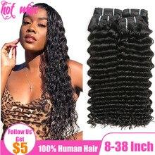 Горячий волна 30 32 34 дюйм бразильский человеческий волосы плетение пучки наращивание для женщин натуральный 1B черный цвет глубокий кудрявый волна уток без
