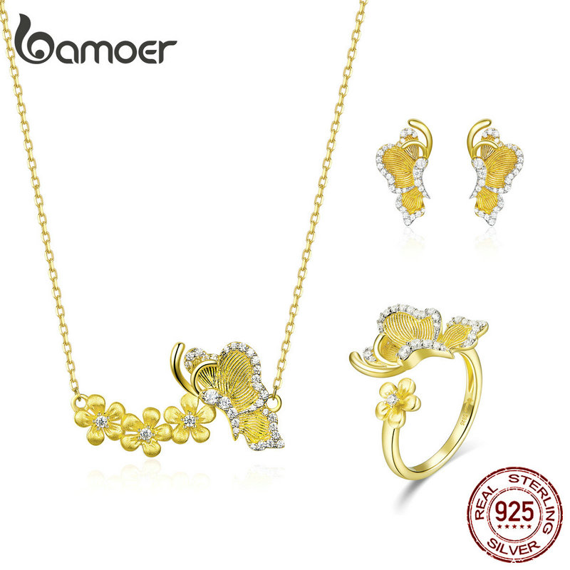 Bamoer Flying Butterfly With Flowe 4 PCS Necklace Stud Earrings And Ring Jewelry Sets 925 Sterling Silver Wedding Jewelry ZHS155