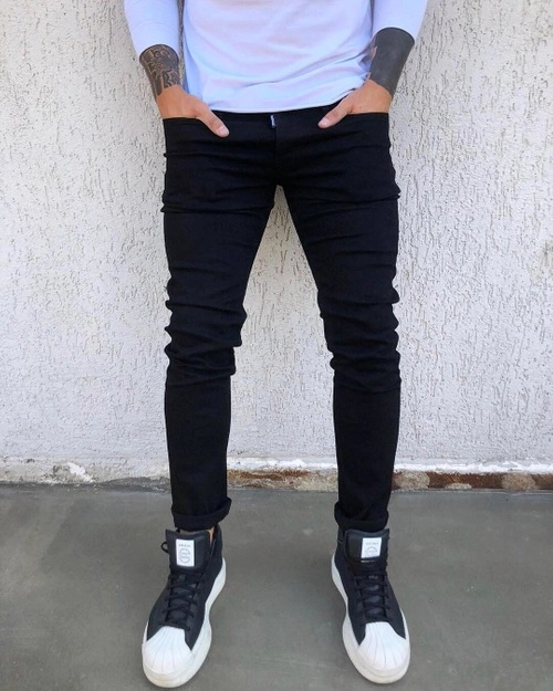 Hot Selling Men Korean-style Teenager Skinny Elasticity Slim Fit Casual Black And White With Pattern Trend Jeans
