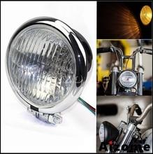 "Chromeรถจักรยานยนต์Retroไฟหน้า 4.5 ""Batesสไตล์ไฟหน้าสำหรับHarley Sportster Cafe Racer Chopper Bobber Emarkโคมไฟ"