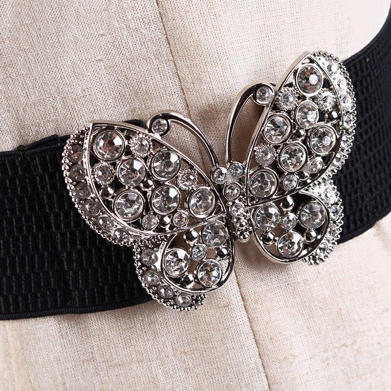 Hot Selling Women Rhinestones Inlaid Butterfly Hook Buckle Stretch Elastic Wide Waist Belt