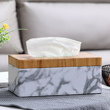 MOONHOUSE Marble PU leather Tissue Box with cover Rectangle Paper Towel Holder Desktop Napkin Storage Container For Home Office