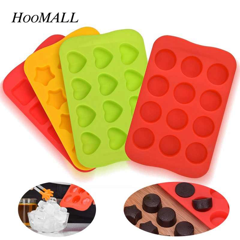 Ice Cube Tray 100% Food Grade Silicone Mold Chocolate Mould 12 Grids Soft Ice Maker Jelly Pudding Mould Ice Cube Maker